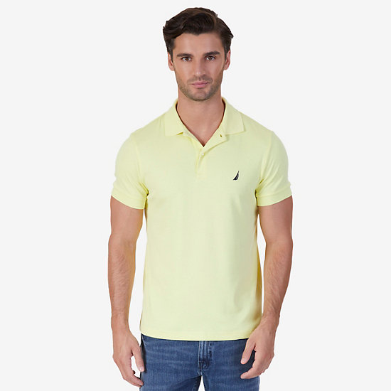 Slim Fit Interlock Polo Shirt - Lemon Mist