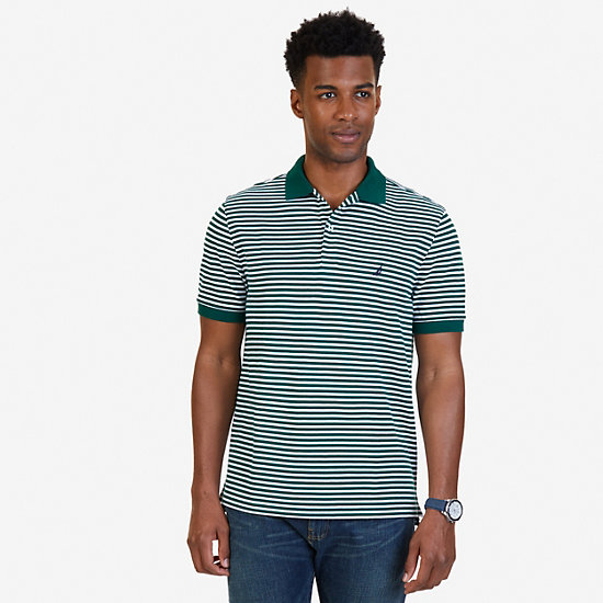 Classic Fit Striped Polo Shirt - Cosmic Fern
