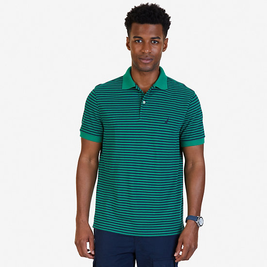Classic Fit Striped Polo Shirt - Verdant Green