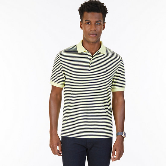 Classic Fit Striped Polo Shirt - Lemon Mist