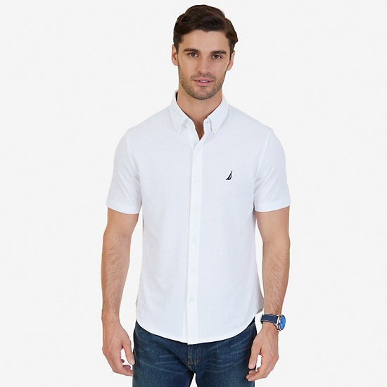 Classic Fit Solid Short Sleeve Shirt,Bright White,large