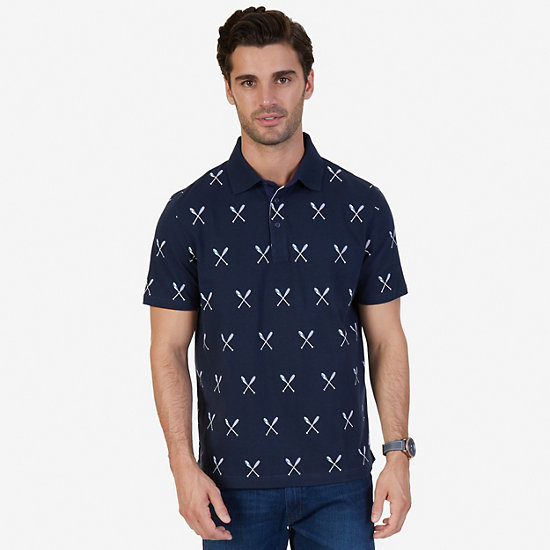 Classic Fit Oar Print Polo Shirt - Navy