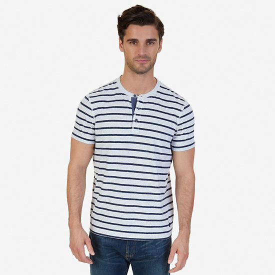 Slim Fit Striped Henley Shirt - Bright White