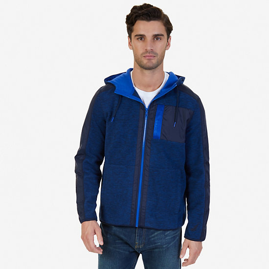 Color Block Zip-Front Hoodie - Navy
