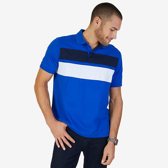 Classic Fit Chest Stripe Polo Shirt - Bright Cobalt