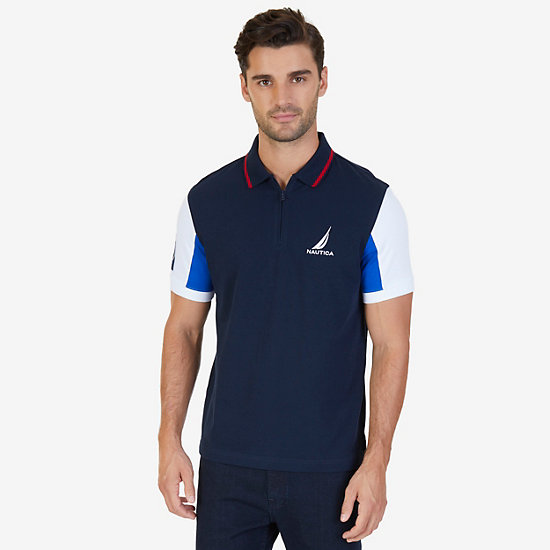 Classic Fit Logo Detail Zip Polo Shirt - Navy