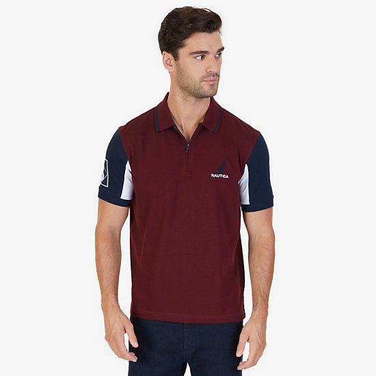 Classic Fit Logo Detail Zip Polo Shirt - Royal Burgundy