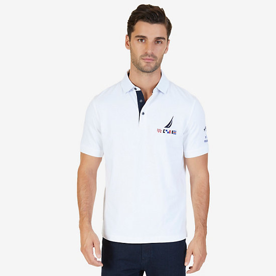 Classic Fit J Class Flag Logo Polo Shirt - Bright White