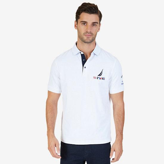 Classic Fit J Class Flag Logo Polo Shirt - Bright White