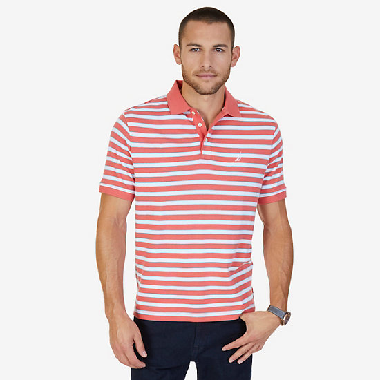 Classic Fit Striped Polo Shirt - Muskmelon