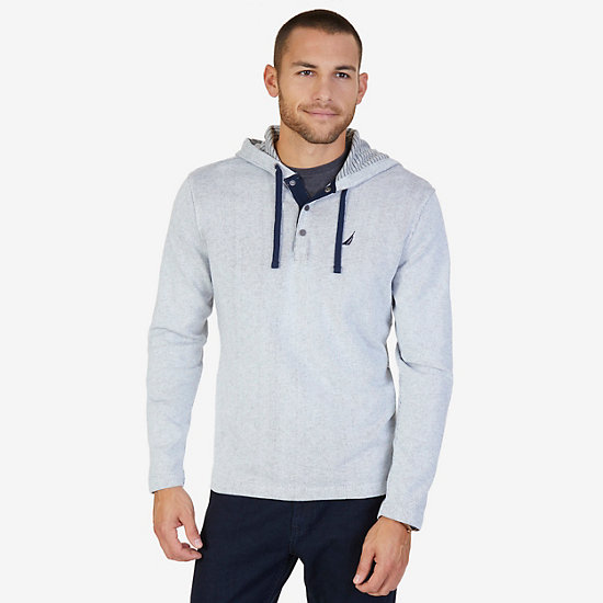 French Rib Henley Hoodie - Marshmallow