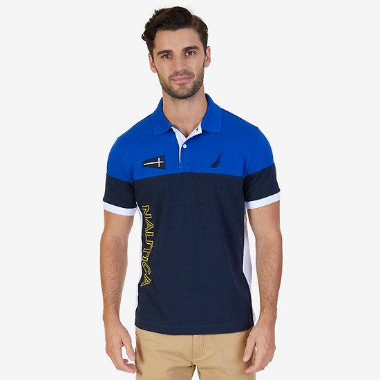 Classic Fit Logo Block Polo Shirt,Bright Cobalt,large