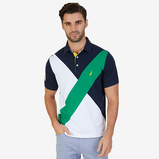 Classic Fit Diagonal Pieced Polo Shirt - Light Sonic
