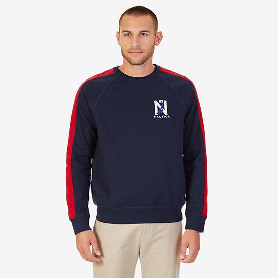 Colorblock Raglan Pullover - Navy