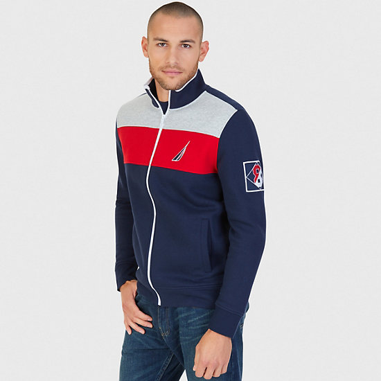 Pieced Stripe Track Jacket - Navy