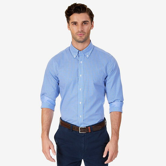 Wrinkle Resistant Classic Fit Gingham Dress Shirt - Bright Blue Jig