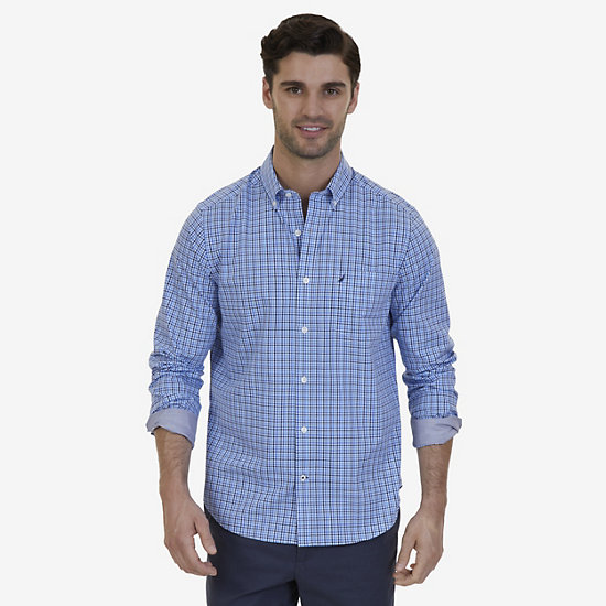 Nautica Big & Tall Wrinkle Resistant Marine Plaid Shirt  - Blue Grass