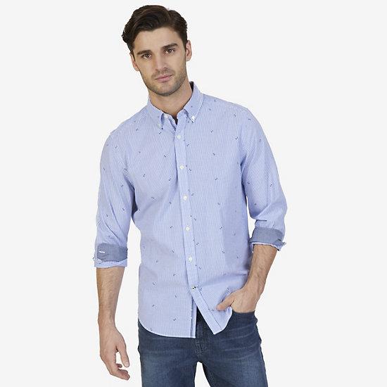 Nautica Big & Tall Striped & Anchor Print Shirt - Bright Cobalt