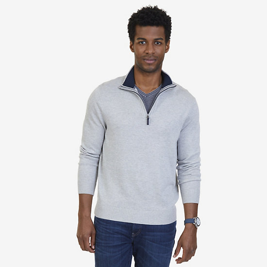 Nautica Big & Tall Quarter-Zip Pullover  - Grey Heather