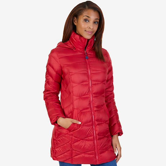 Long Down Puffer Coat - Tomales Red