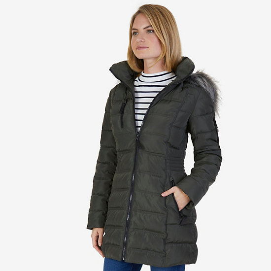Galaxy Faux Fur Hooded Puffer Coat - Light Olive