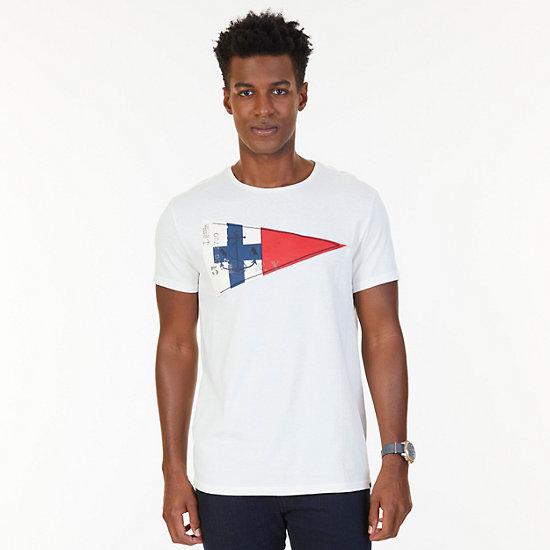 Nautica Big & Tall Sailing Flag Graphic T-Shirt - Marshmallow