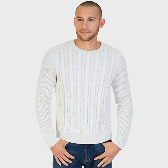 Plaited Cable Crew Sweater - Marshmallow