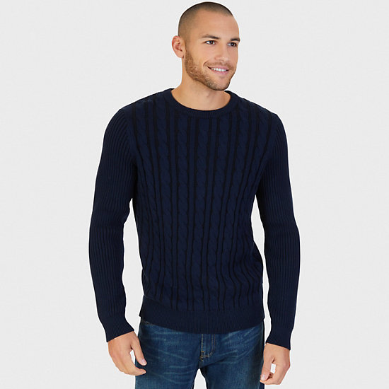 Plaited Cable Crew Sweater - Navy