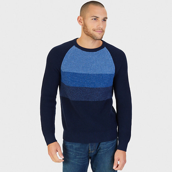 Gradient Raglan Crew Sweater,Navy,large