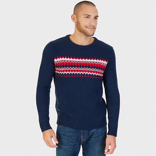 Fair Isle Jacquard Crew Sweater,Navy,large