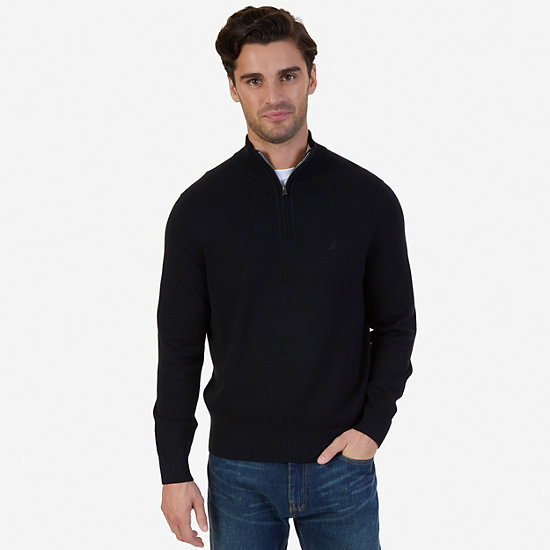 Quarter-Zip Sweater,True Black,large