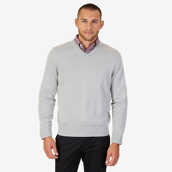 V-Neck Sweater - Grey Heather