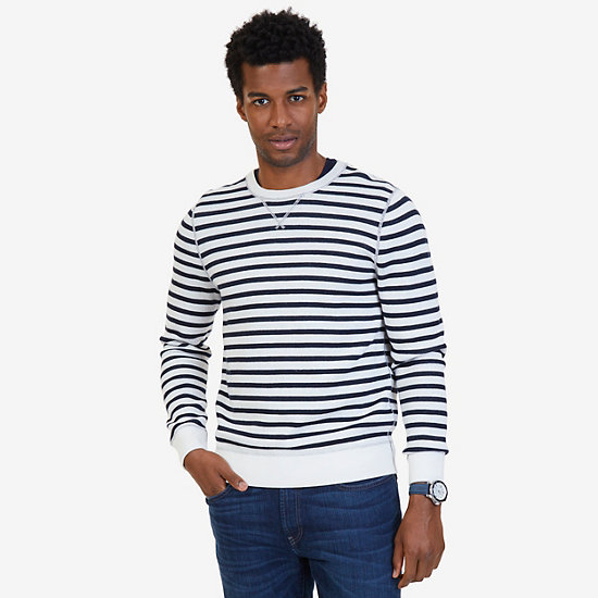 Nautica Striped to Solid Reversible Sweater - Marshmallow