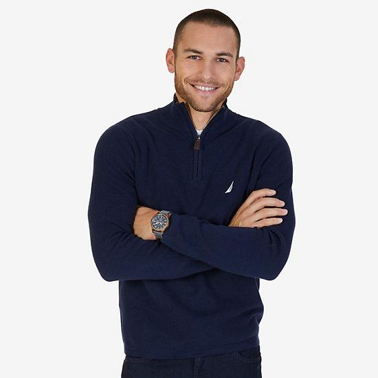 Quarter Zip Pullover Sweater - Navy