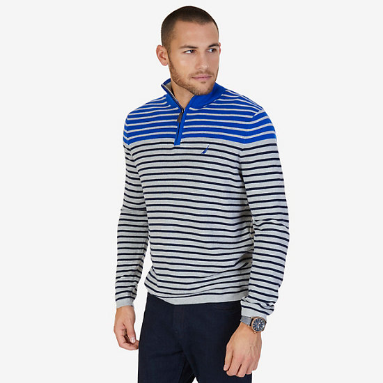 Striped Quarter Zip Pullover Sweater - Grey Heather