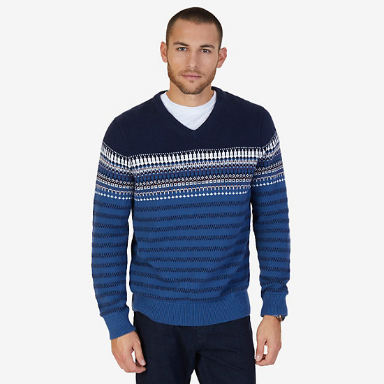 Colorblock Fair Isle V-Neck Sweater - Lakeside Blue Wash