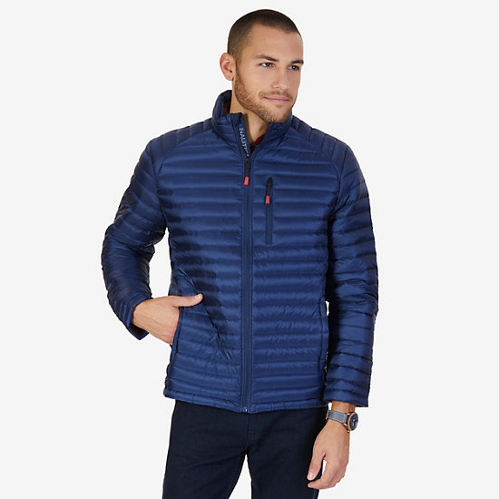 Quilted Nylon Down Jacket - Admiral Blue