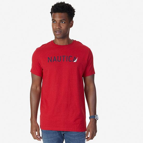 Signature Logo T-Shirt,Nautica Red,large