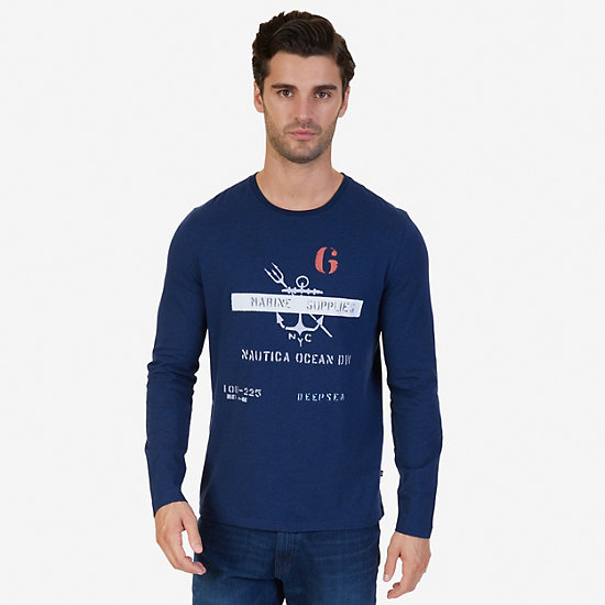 Marine Supplies Graphic Long Sleeve T-Shirt - Bayberry Blue