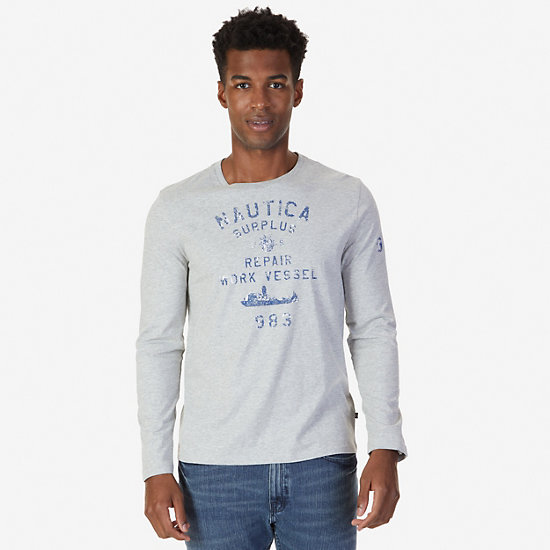 Surplus Graphic Long Sleeve T-Shirt - Grey Heather