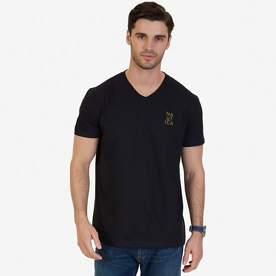 Signature Graphic V-Neck T-Shirt,True Black,large