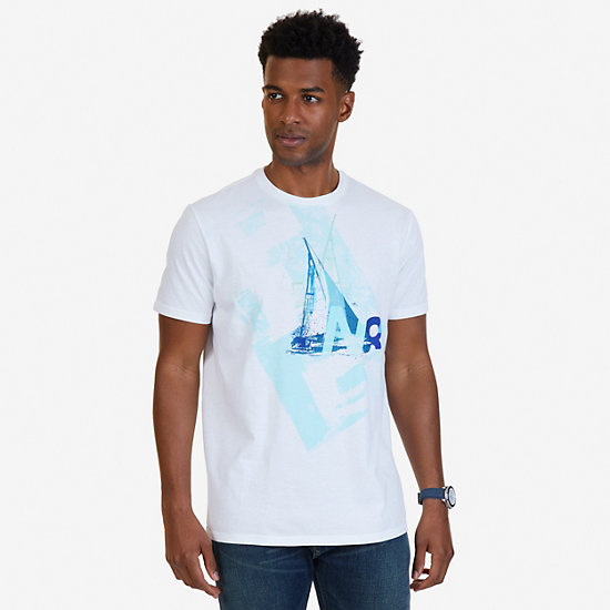 N83 Sailboat Graphic T-Shirt,Bright White,large