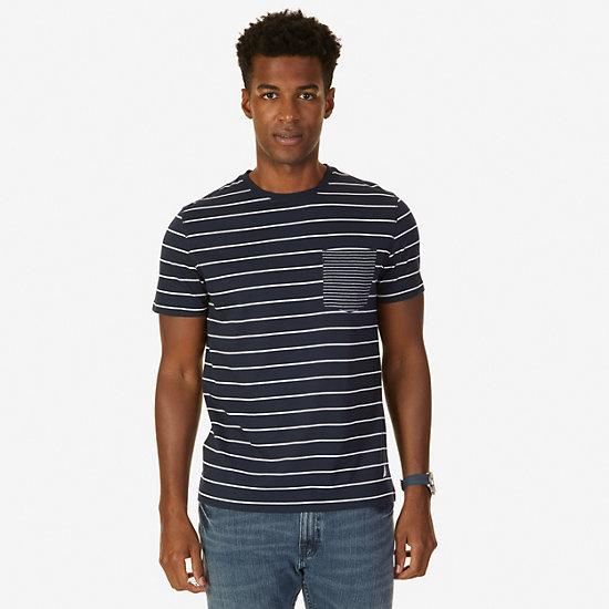 Striped T-Shirt,Navy,large