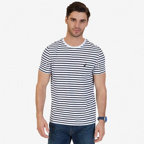 Striped Crew-Neck T-Shirt - Bright White