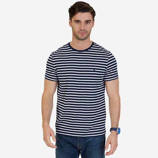 Striped Crew-Neck T-Shirt - Navy