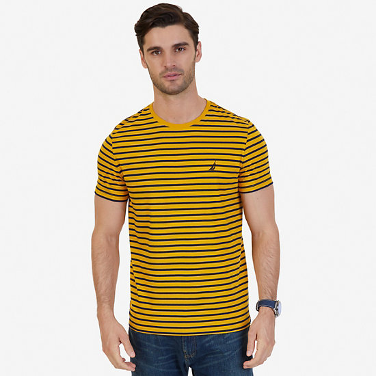 Striped Crew-Neck T-Shirt - Yellow