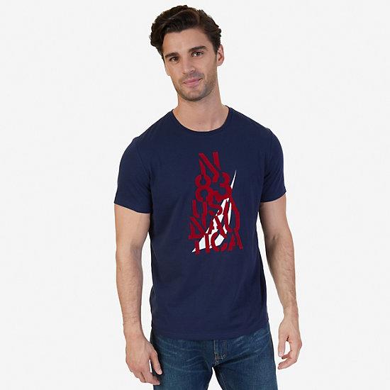 N 83 Nautica Graphic T-Shirt,Navy,large