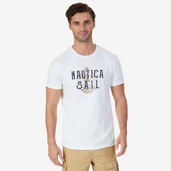 Nautica Sail Graphic T-Shirt,Marshmallow,large