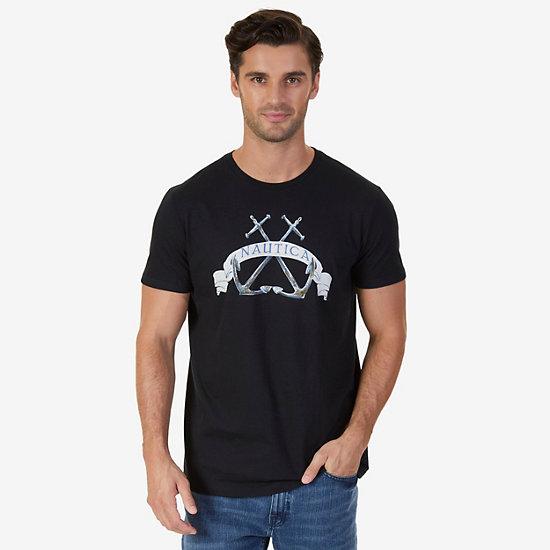 Double Anchor Graphic T-Shirt - True Black