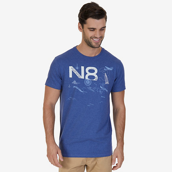 N83 Water Graphic T-Shirt,Dreamy Blue,large